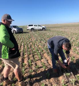 John and farmer in field